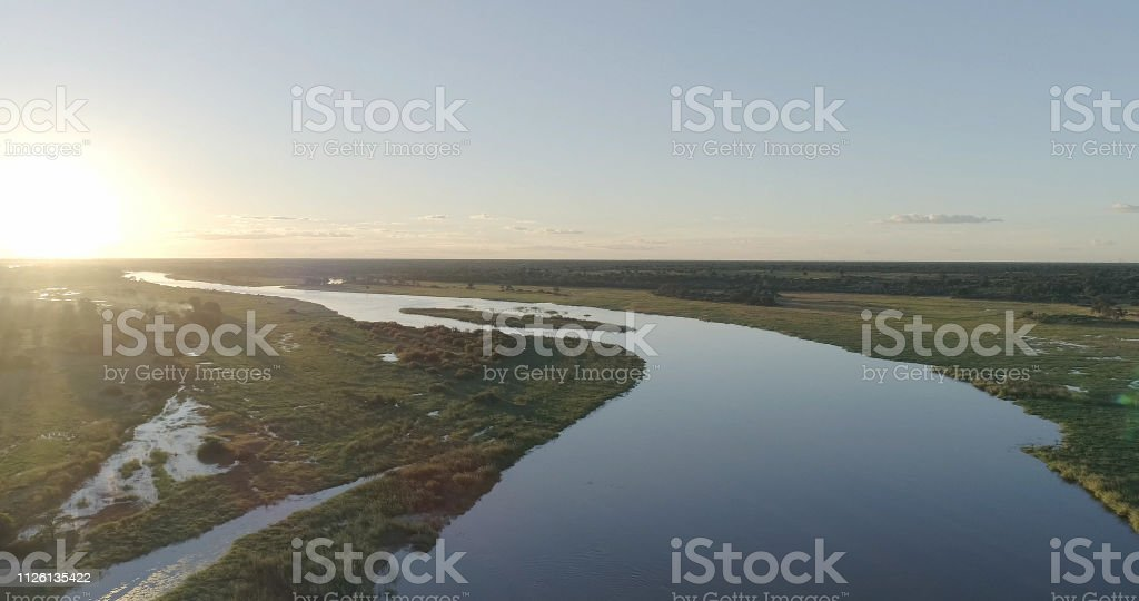 Aerial shot of okavango river.