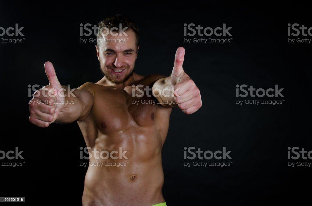 Okay. Happy bodybuilder shirtless. Lizenzfreies stock-foto