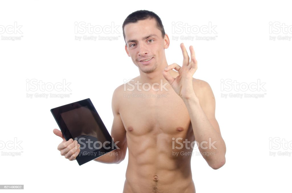 Okay. Happy guy with the tablet. foto stock royalty-free