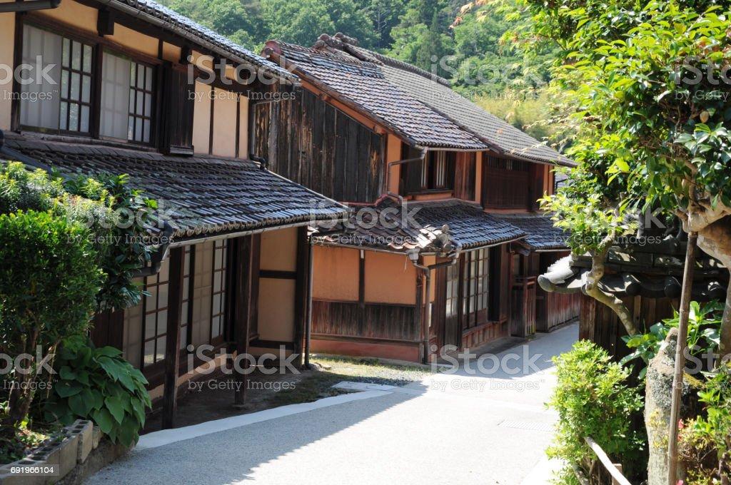 okayama fukiya houses histric place stock photo