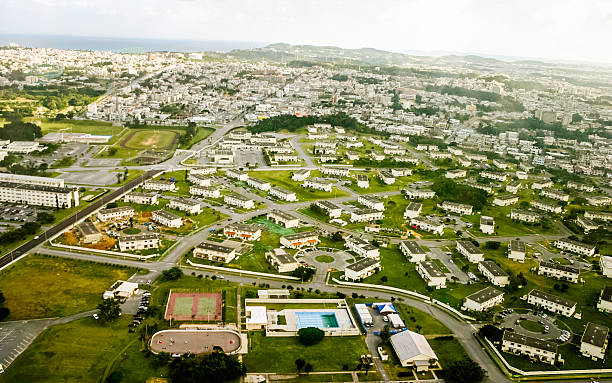 Okinawa, Japan: Aerial View Okinawa Aerial View military base stock pictures, royalty-free photos & images