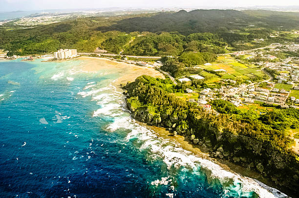 Okinawa, Japan: Aerial View Okinawa Aerial View naha stock pictures, royalty-free photos & images