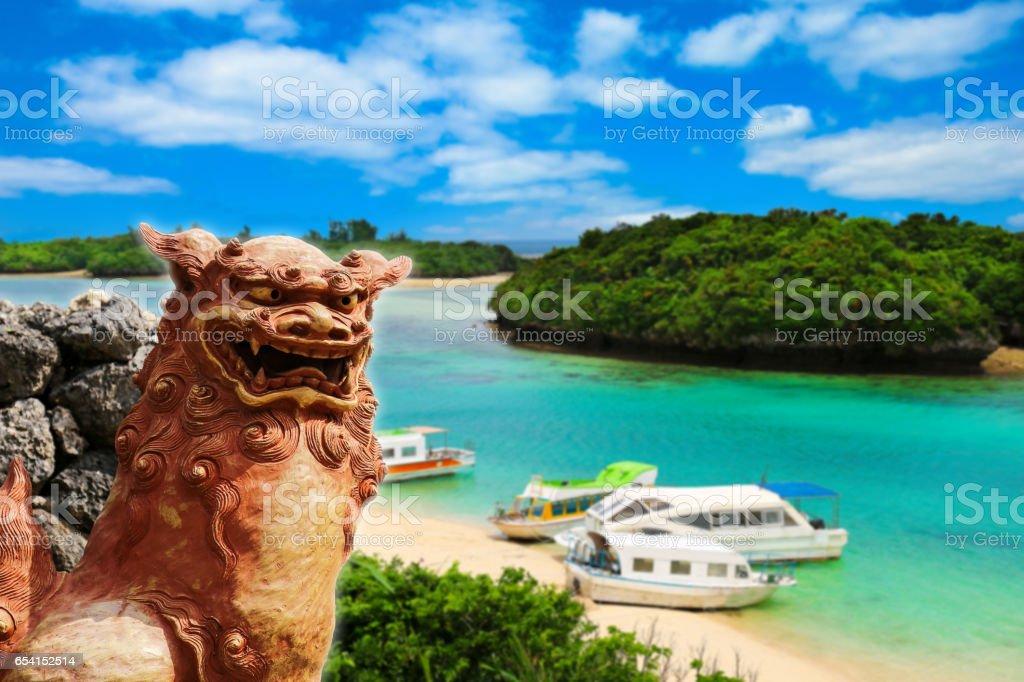 Okinawa Shisa and the beautiful sea stock photo