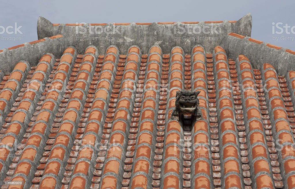Okinawan Shisa on Okinawa-Style Roof stock photo