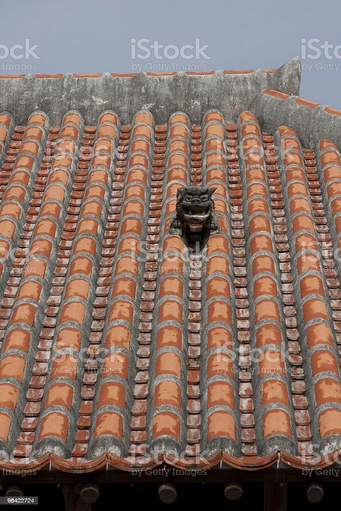 Okinawan Shisa on Okinawa-Style Roof royalty-free stock photo