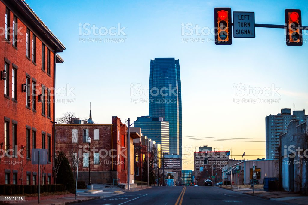 Oklahoma City at sunset time stock photo
