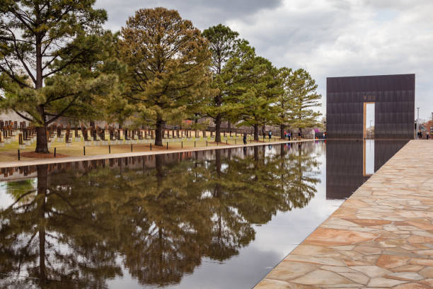 Oklahoma City National Memorial and reflecting pool stock photo