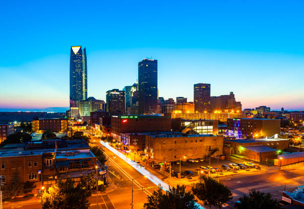 Oklahoma City, Oklahoma, USA At Night stock photo