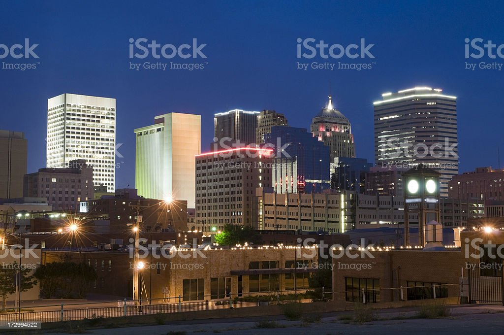 Oklahoma City Skyline at Dusk royalty-free stock photo