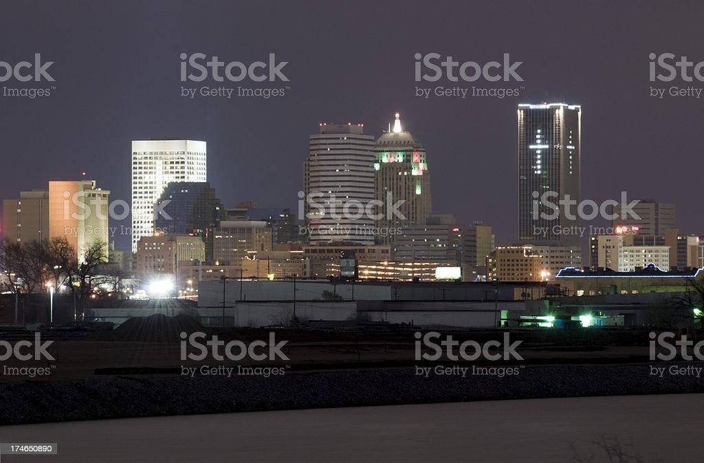 Oklahoma City Skyline at Night royalty-free stock photo