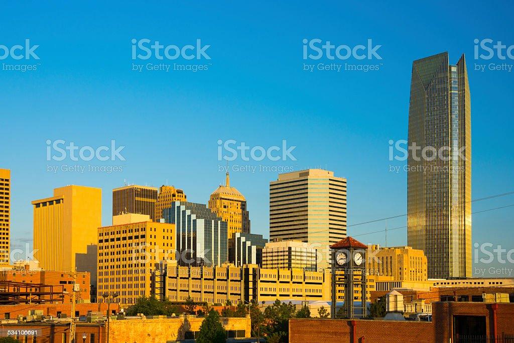 Oklahoma City skyline during the Golden Hour stock photo