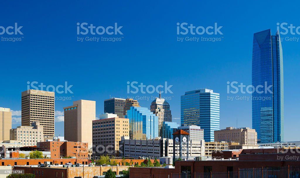 Oklahoma downtown skyline featuring Devon Energy Center stock photo