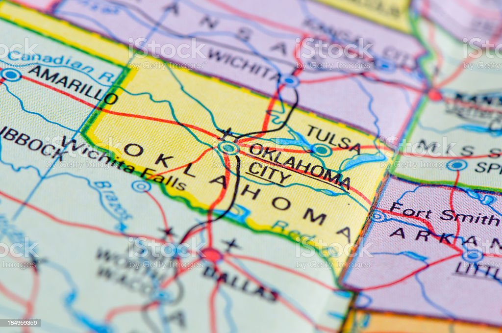 Oklahoma map royalty-free stock photo