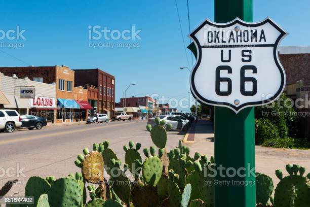 Oklahoma Route 66 Sign Along The Historic Route 66 In The State Of Oklahoma Usa Stock Photo - Download Image Now