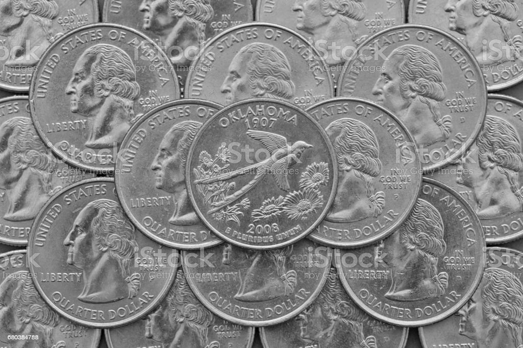 Oklahoma State and coins of USA. royalty-free stock photo