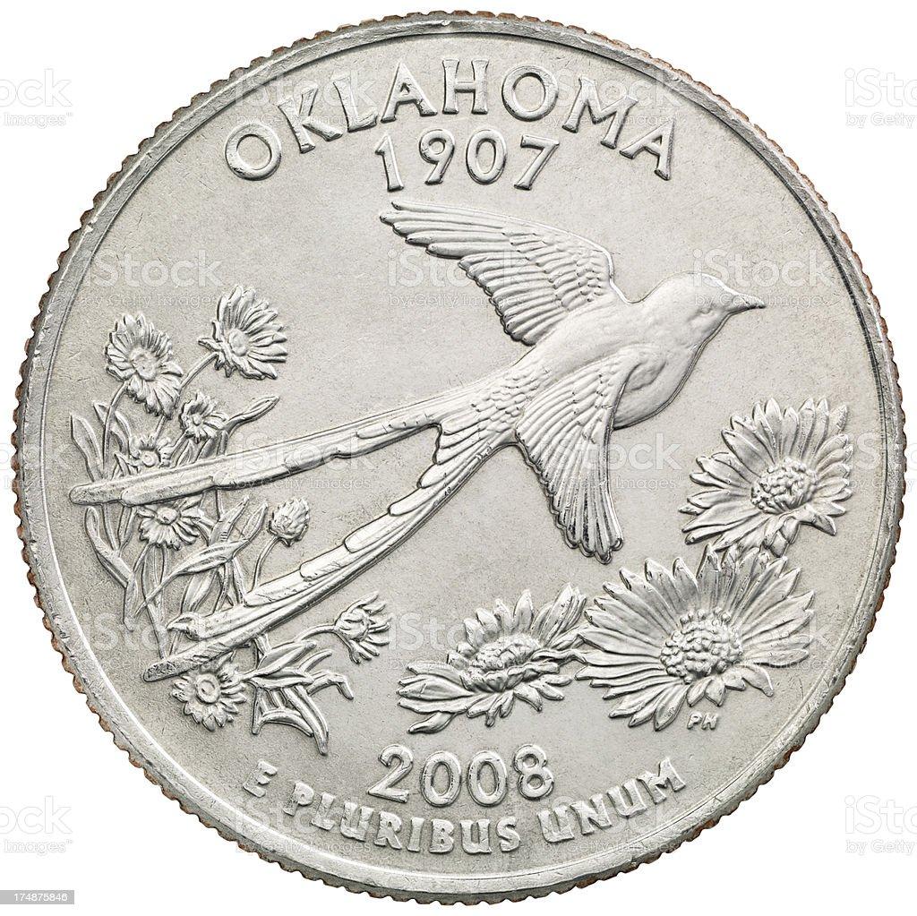 Oklahoma State Quarter Coin royalty-free stock photo