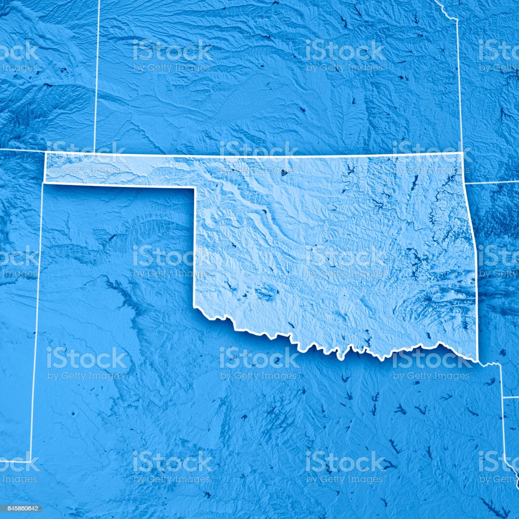Oklahoma State USA 3D Render Topographic Map Blue Border stock photo