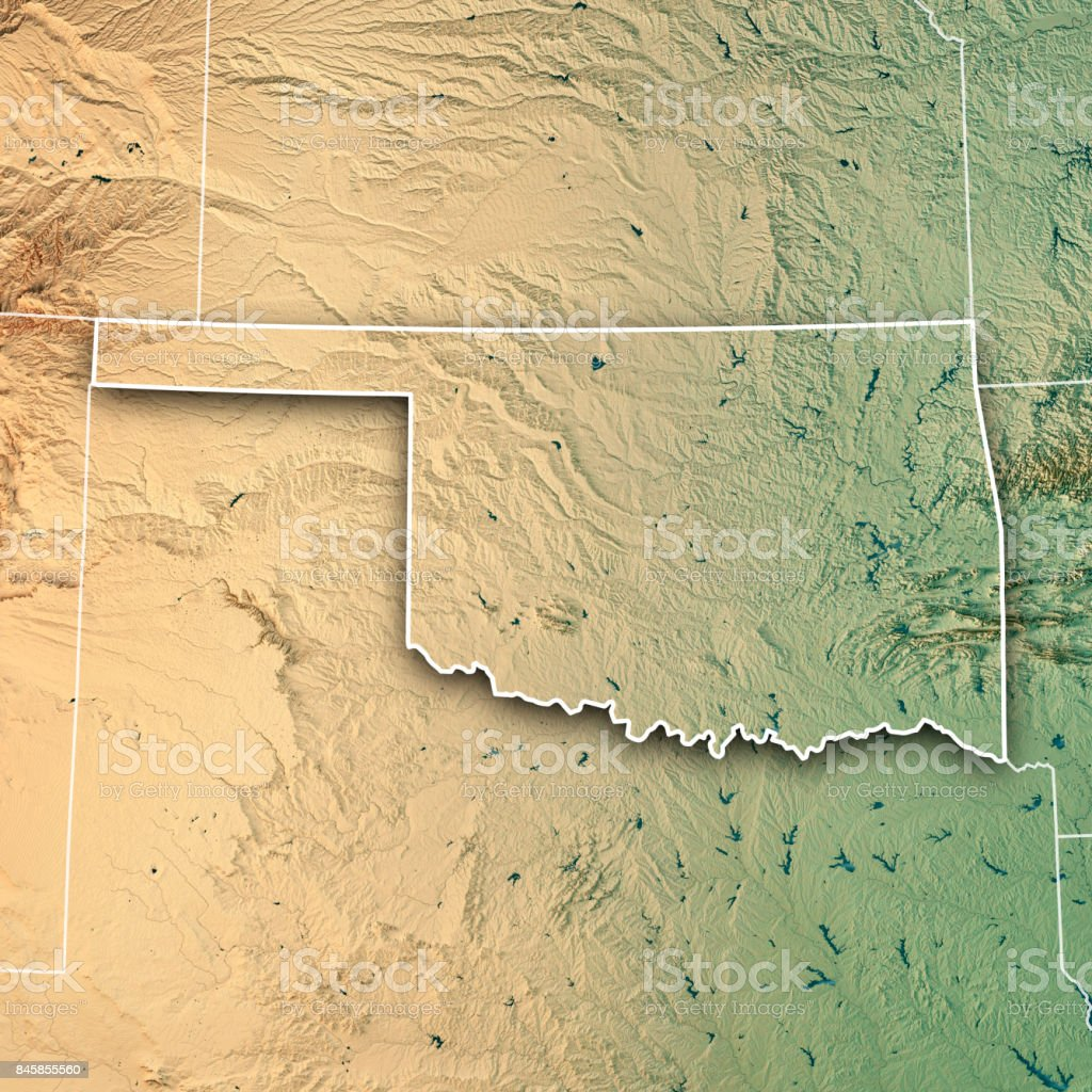 Oklahoma State Usa 3d Render Topographic Map Border Stock Photo ...