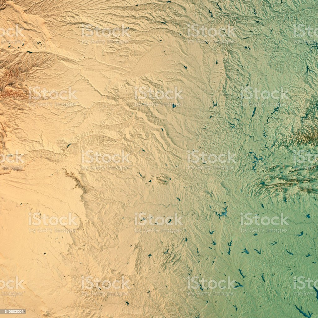 Oklahoma State USA 3D Render Topographic Map stock photo