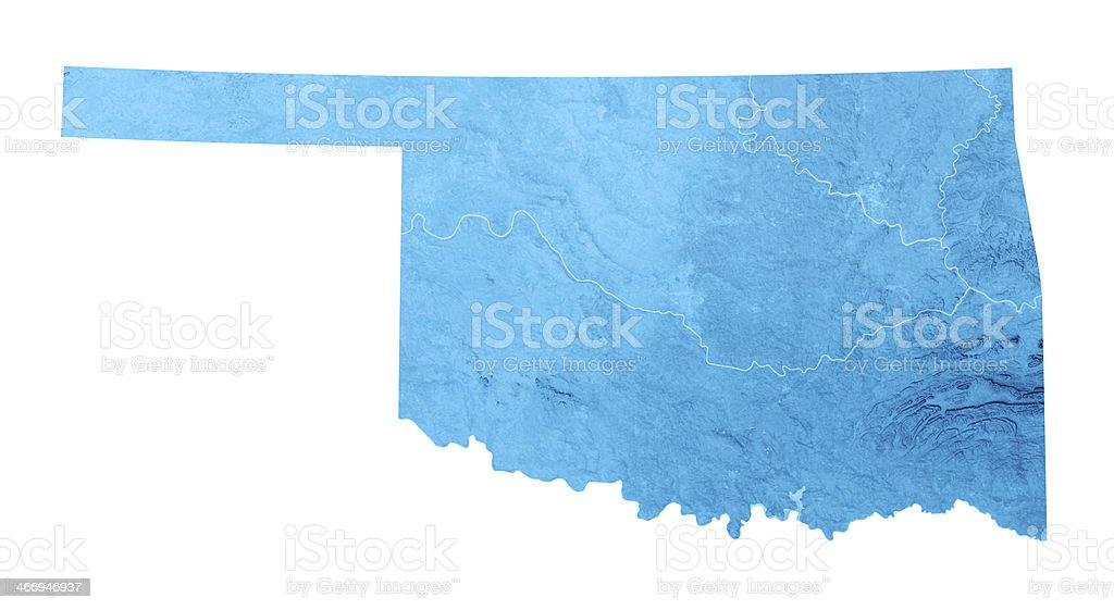 Oklahoma Topographic Map Isolated stock photo