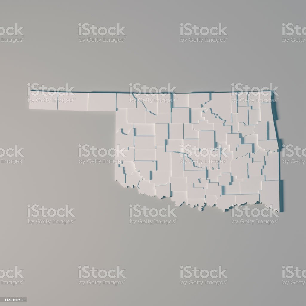 3D Render of an US State map of Oklahoma with the Administrative...