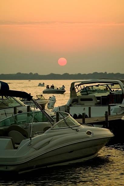 Okoboji Sunset & Boats stock photo