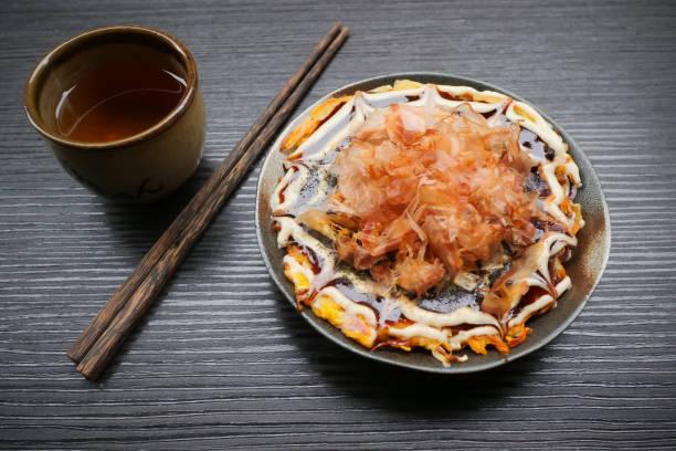 Okonomiyaki / Japanese pizza homemade stock photo