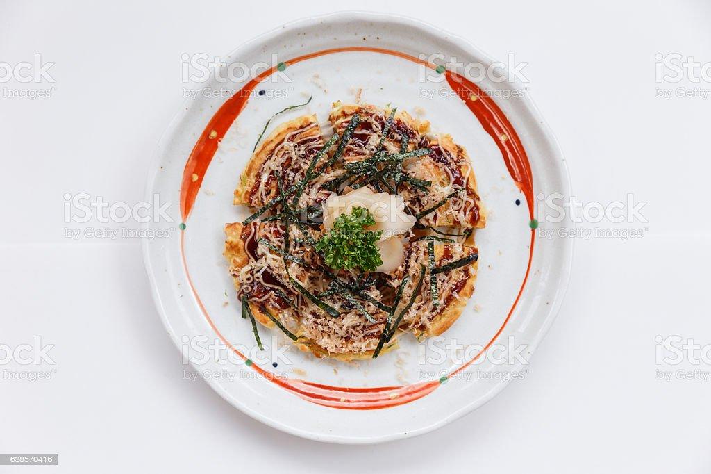 Okonomiyaki Sereved with Prickled Ginger. stock photo