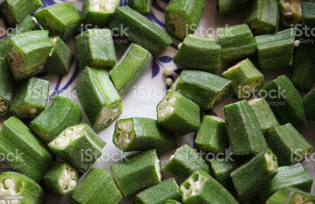 okra or lady's finger stock photo