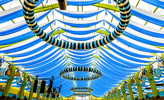 Munich, Germany - September 28, 2017: people in the 'Spaten'-beer tent at the biggest folk festival in the world - the octoberfest on september 28, 2017 in munich.