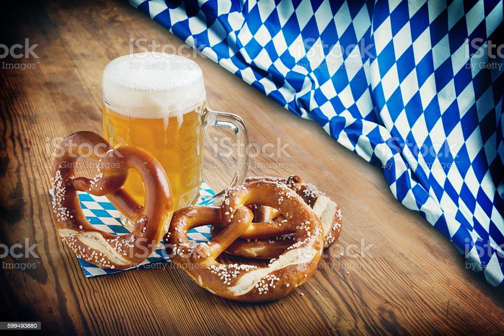 Oktoberfest Background – Beer and Pretzel stock photo