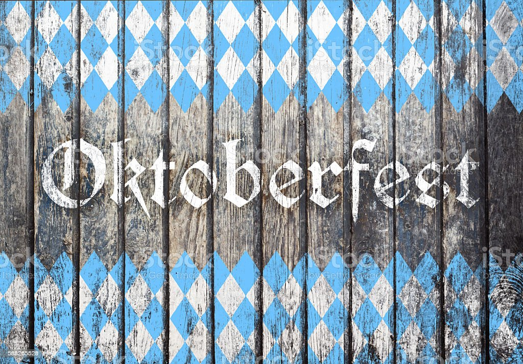 Oktoberfest background with blue and white rhombus pattern stock photo