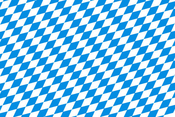 Oktoberfest background with blue checked repeatable rhombus stock photo