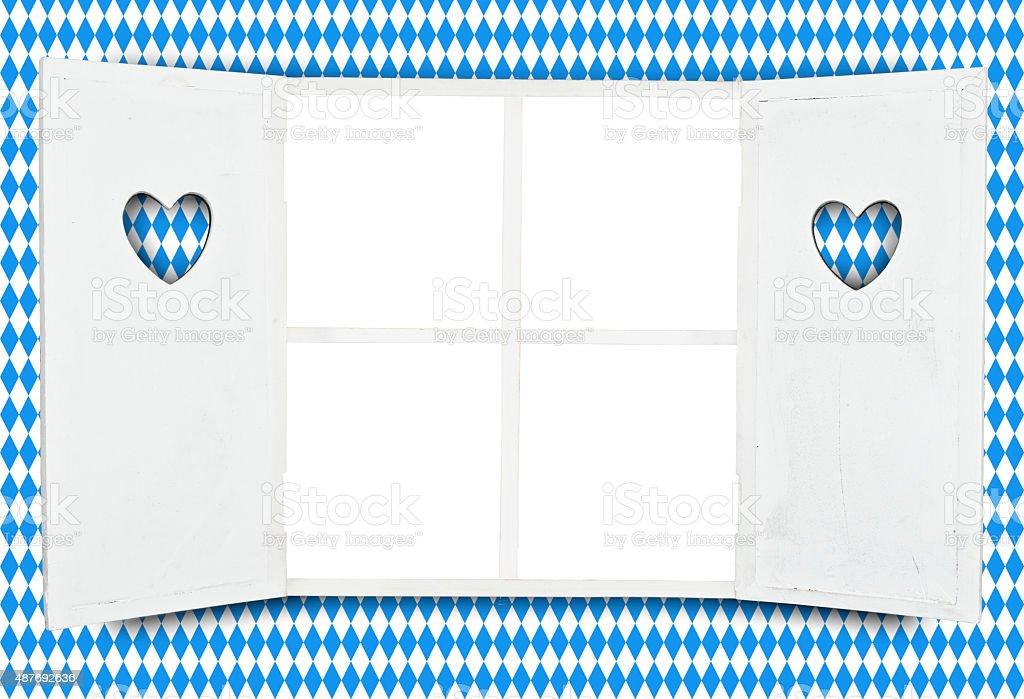 Oktoberfest-bayrische Fensterrahmen blauen Hintergrund mit rhombus – Foto
