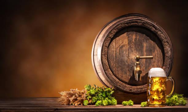 Oktoberfest beer barrel and beer glass stock photo