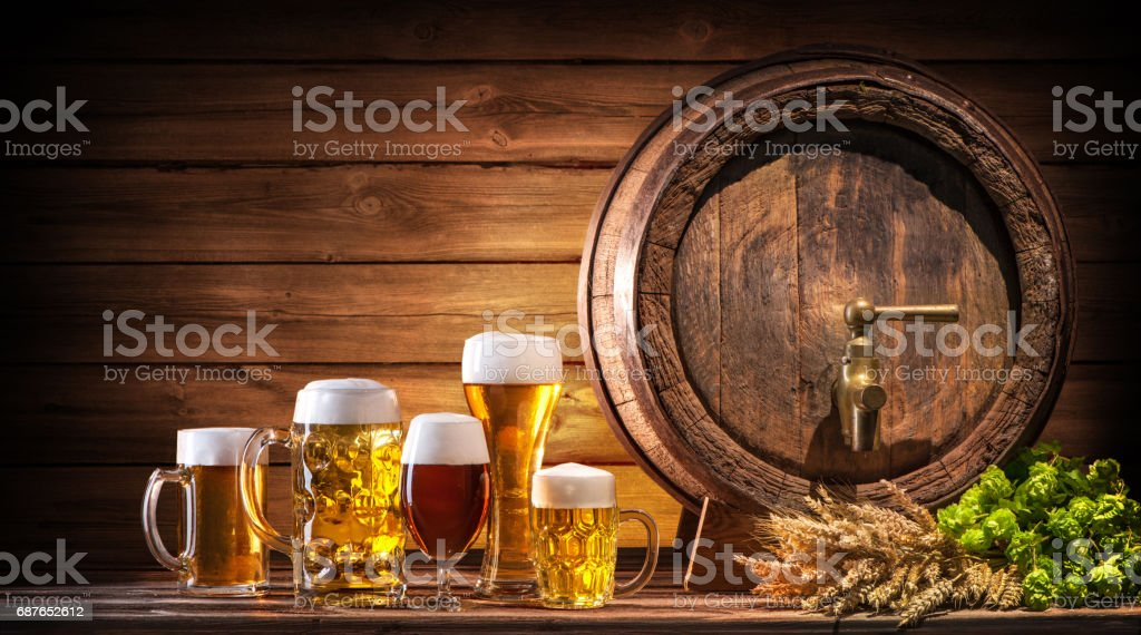 Oktoberfest beer barrel and beer glasses stock photo