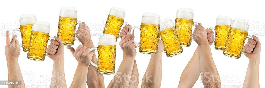 oktoberfest beer hands stock photo