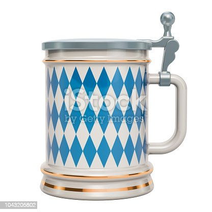 istock Oktoberfest beer mug with flag of Bavaria, 3D rendering isolated on white background 1043205802