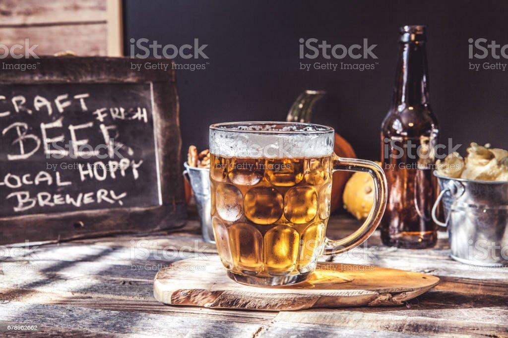 Oktoberfest Beer With Pumpkins stock photo