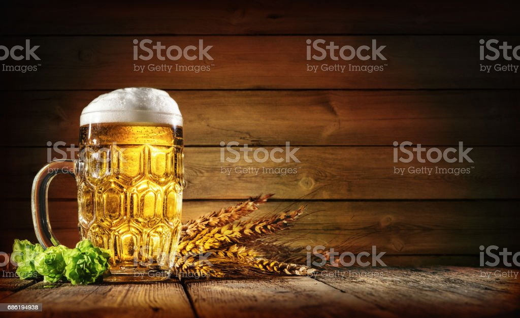 Oktoberfest beer with wheat  and hops – Foto