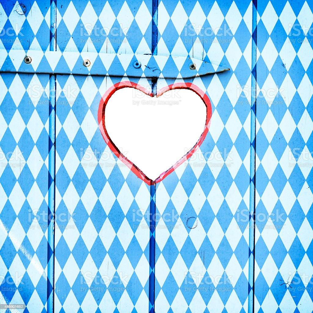 Oktoberfest-Blue Rhombus Tür Hintergrund mit Herzen – Foto