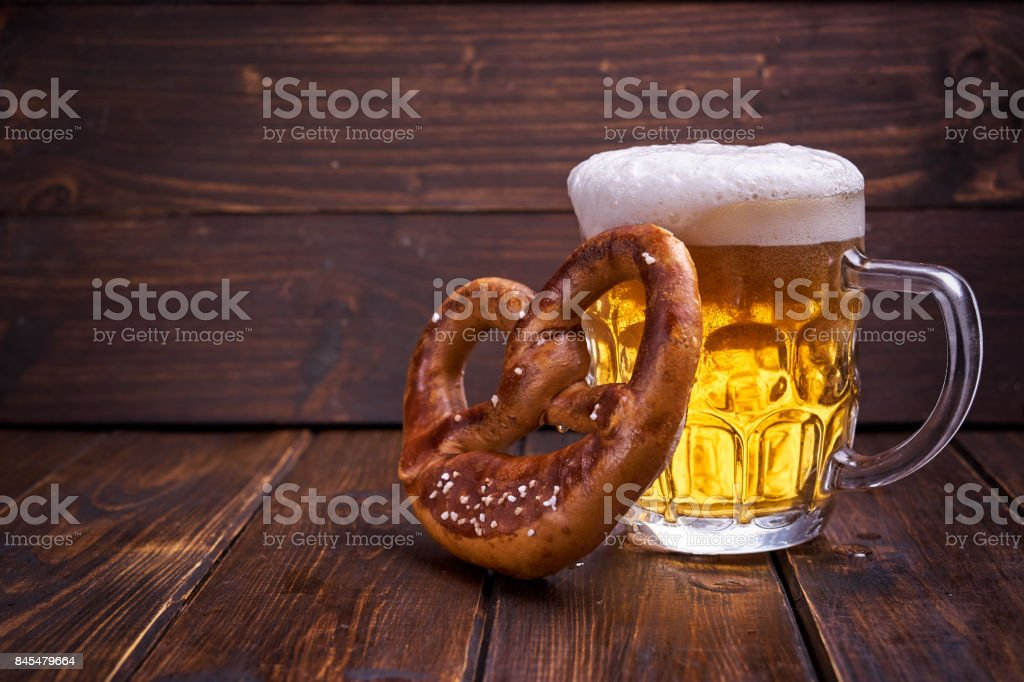 Oktoberfest food on wooden background stock photo