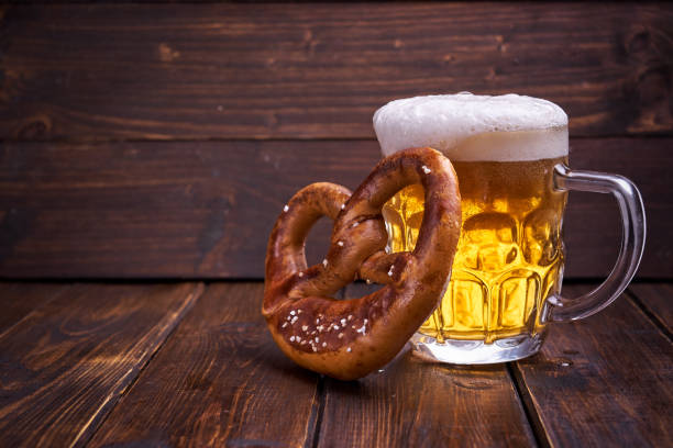 oktoberfest food on wooden background - oktoberfest stock pictures, royalty-free photos & images
