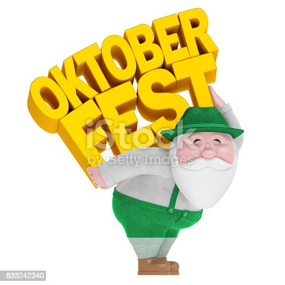 istock Oktoberfest German beer festival. Smiling old man in Bavarian costume with yellow text 833242340