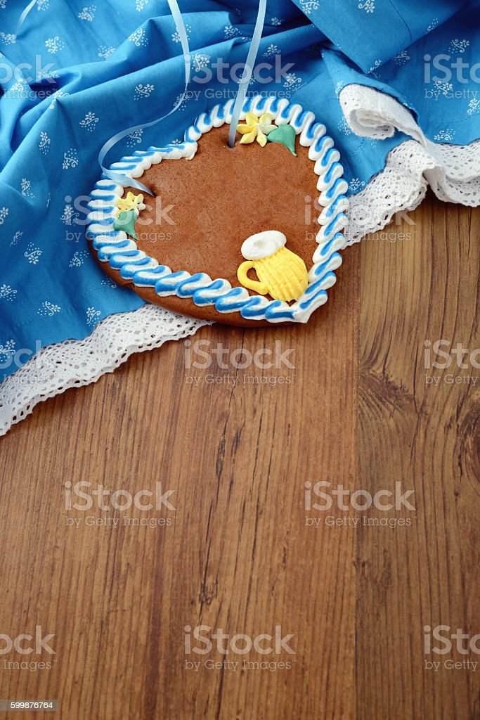 Oktoberfest gingerbread heart cake with copy space stock photo