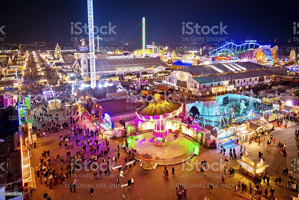 Oktoberfest in Munich at dusk, Germany royalty-free stock photo