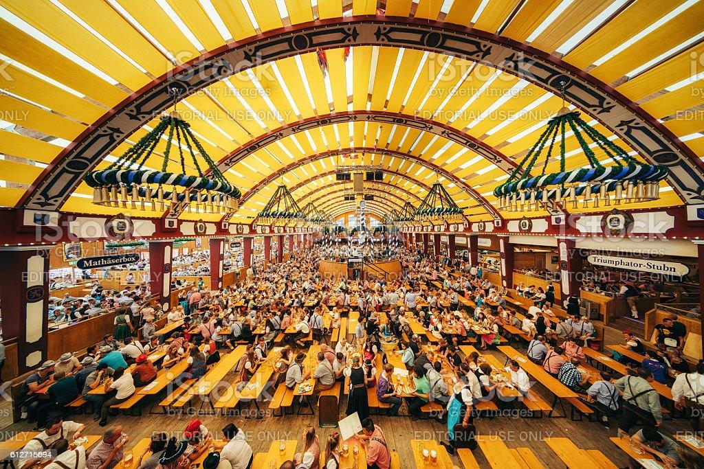 Oktoberfest in Munich, Loewenbraeu brewery's festive tent stock photo