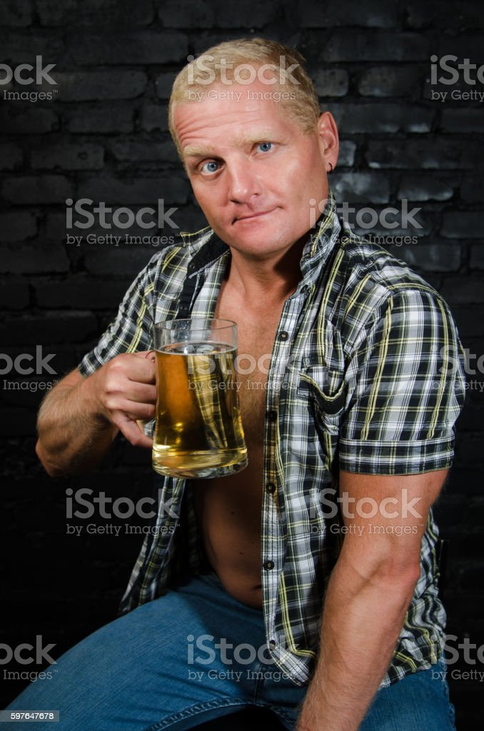 Oktoberfest. Man at the bar. stock photo