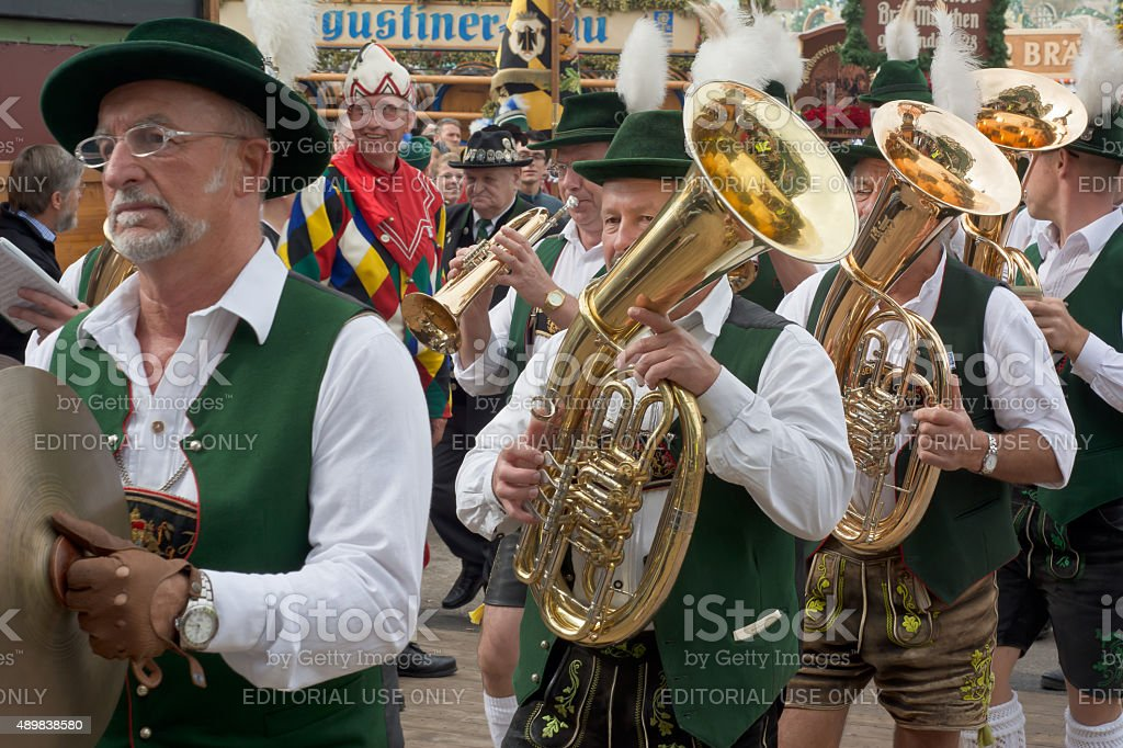 Oktoberfest Marching Band with Costumes and Horns stock photo