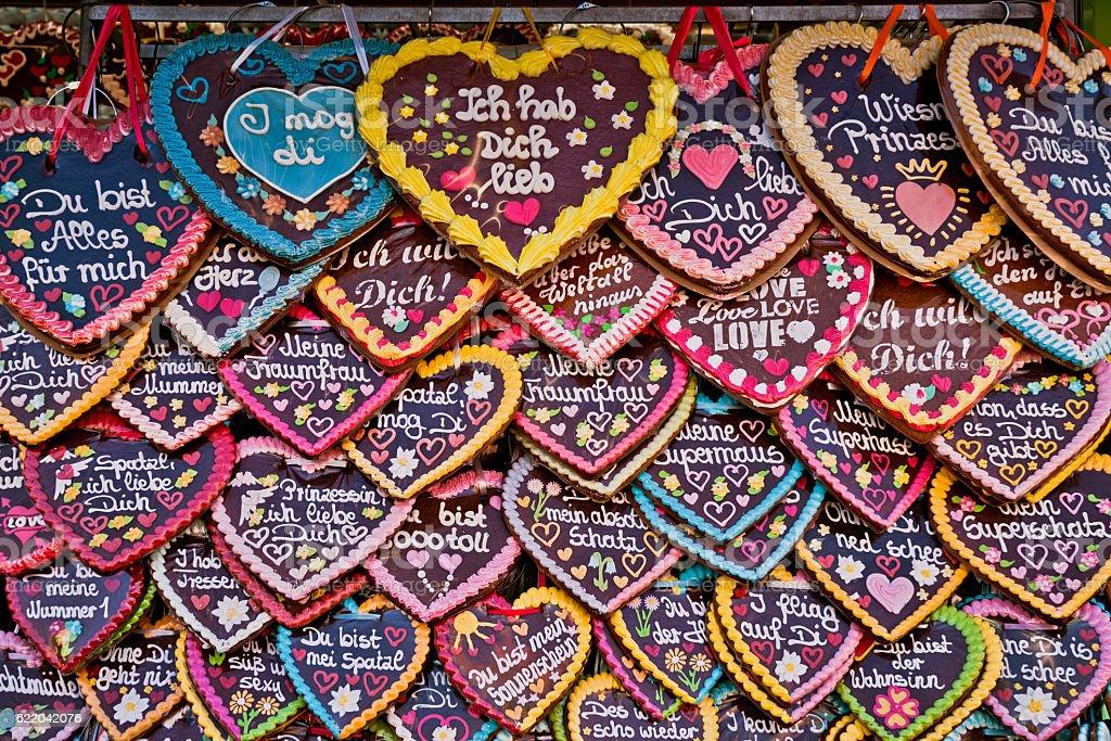 Oktoberfest  Munich Gingerbread hearts stock photo